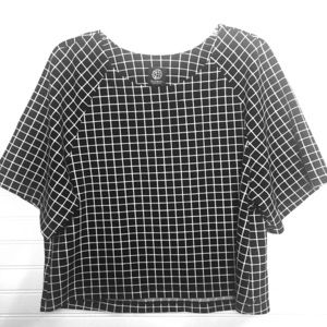 BOBEAU abstract black and white square Pattern Top
